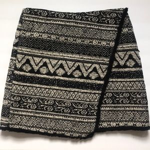 Wrap-effect woven mini skirt